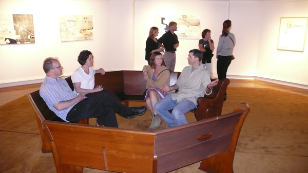 People sitting in sculpture
